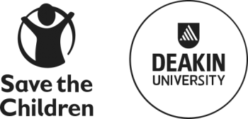 Save The Children and Deakin University logos