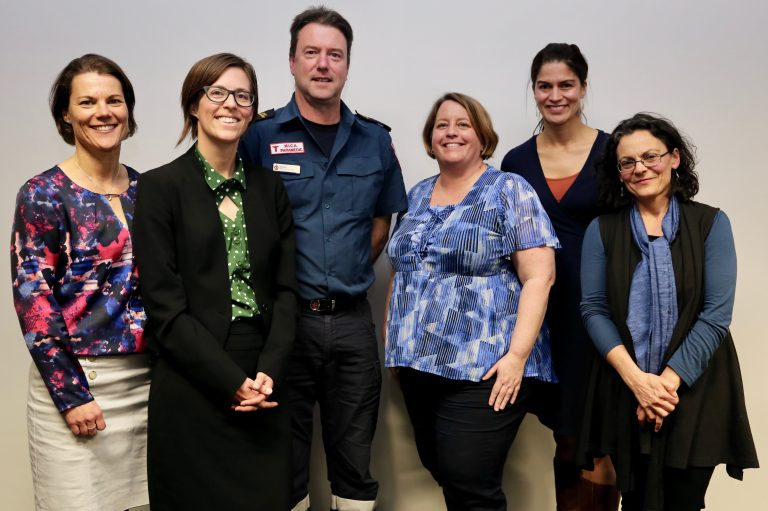 Guest Panel: From left to right: Sarah Ireland, One Girl; Shaun Whitmore, Ambulance Victoria/Australian Medical Assistance Team; Natasha Freeman, Australian Red Cross; Patricia Schwerdtle, Médecins Sans Frontières; and, Lisa Natoli, Australian Red Cross.